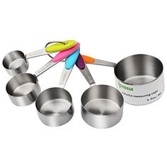 IPOW Stainless Steel Set of 5 American Kitchen Cooking Baking Measuring Cups Measuring Spoon with Silicone Handle Stainless Kitchen, Stainless Steel Rings, Tea Coffee Sugar Canisters, Kitchen Storage Containers, American Kitchen, Kitchen Canisters, Kitchen Utensils, Cooking Appliances, Paint Finishes