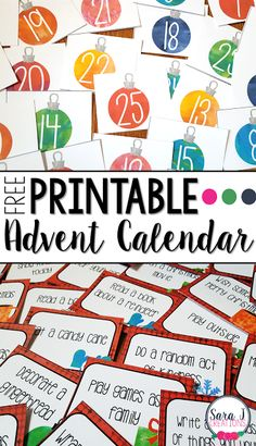 Free printable Advent calendar for your home or classroom.