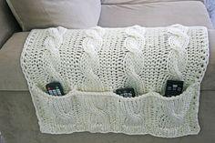4 Pockets White Sofa Organizer+Remote Control Holder bag On TV, Hand Knit, Needles, Cordon, Cotton Rope on Etsy, $49.00