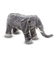Melissa And Doug Elephant Plush - Open up your heart and make sure there is plenty of room for this cuddly Elephant Plush from Melissa & Doug. Complete with a wrinkled trunk and floppy ears, this lovable stuffed animal is a huggable buddy. Giant Stuffed Animals, Elephant Stuffed Animal, Large Animals, Zoo Animals, Biggest Elephant, Melissa & Doug, Little People, Toenails, Elephants