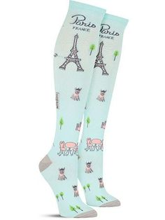 Cool novelty Parisian Day Knee High Socks for women, in light blue