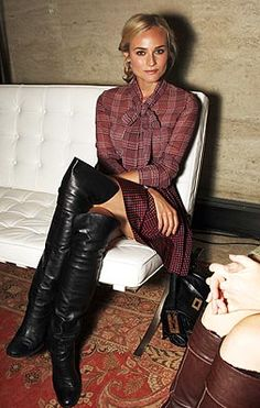 ♕ Janaes Style---Maroon plaid vintage dress and otk black leather boots, Diane Kruger- chic