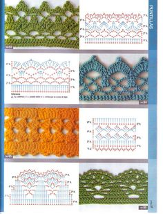 Giáo trình móc cơ bản ( Không spam topic này ) - Page 2 Check out the diagrams and learn to make more than 150 points, (crochet edgings) with images. There are several crochet borders that can be applied in various crochet projects. Crochet Border Patterns, Crochet Lace Edging, Crochet Motifs, Crochet Diagram, Crochet Chart, Crochet Basics, Crochet Designs, Crochet Blanket Edging, Beau Crochet