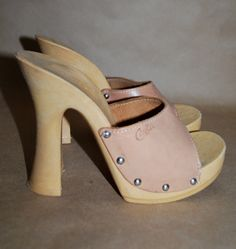 High Heels Candie's Shoes Vintage 1970's Size 6 Tan Leather With Studs Made in Italy Platforms HOT. $27.00, via Etsy.