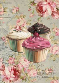 Long before cupcakes were such a hot treat, I dabbled in their cute petite world as a young girl. When I was growing up, cupcakes were one of my favorite desserts to make. Decoupage Vintage, Vintage Diy, Vintage Labels, Vintage Cards, Vintage Cupcake, Vintage Sweets, Vintage Baking, Decoupage Box, Vintage Style