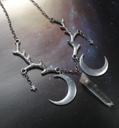 Quartz Crystal With Crescent Moons and Stars On Tree Branches Necklace ~by Violet Moonchild  #handmade #quartz #crystal #necklace #wicca #pagan #white #magic #moon #stars #nature #trees