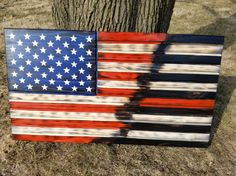 American Flag Thin Red Line Firefighter Rustic Distressed