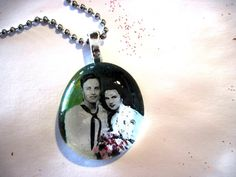 Custom Memory Pendant, Necklace, Glass Cabochon, personalized gift, Wedding, Anniversary