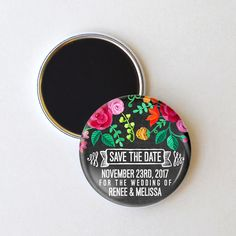 This colorful floral design is the perfect punctuation for a spring or summer wedding. Invite your guests to mark their calendars with this rustic chalkboard save the date magnet. To personalize: Plea