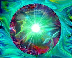 Red Green Chakra Art Reiki Angel Energy Art Green Decor Abstract Art Circle
