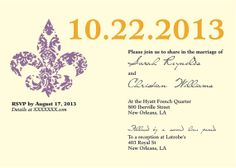 Classic New Orleans Wedding Invitation by NOLAGoods on Etsy, $2.00