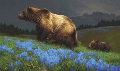 Greg Beecham, Summertime Blue, oil, 18 x - Southwest Art Magazine Bear Paintings, Wildlife Paintings, Wildlife Art, Oil Paintings, Nature Artists, Southwest Art, Bear Art, Realism Art, Woodland Creatures