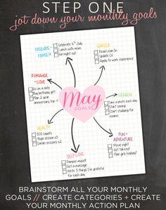 Monthly Goal Planner Goal Tracker Weekly Goal door EasyPeasyPaper