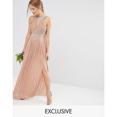 TFNC WEDDING Embellished Pleated Maxi Dress (£37) ❤ liked on Polyvore featuring dresses, wedding dresses, brown, racerback maxi dress, racer back maxi dress, overlay dress, round neck dress and lined maxi dress