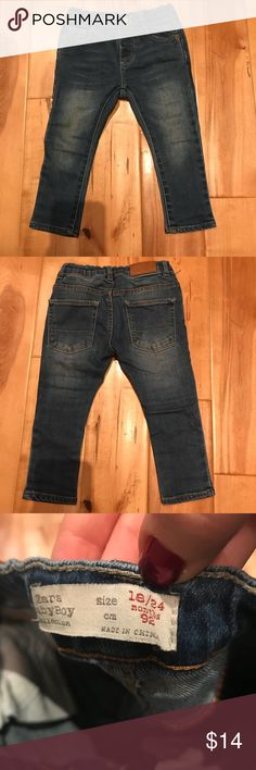 Zara Boys Skinny Jeans 18-24 Months Gently used, worn a few times, washed and dried. Skinny jeans from Zara in a medium blue wash. From smoke free pet free home. In great condition. Zara Bottoms Jeans