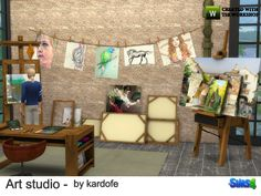 Art studio, with easel, bookcase, dresser, desk, sketches hanging on a rope, stacked pictures on the floor, and decorative artistic painting articles Found in TSR Category 'Sims 4 Study Sets'