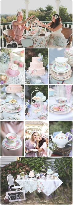 Vintage Afternoon tea party for bridal shower. I love the idea of each guest bringing a different tea cup and saucer to use and then leave it for the brides mismatched China collection! Bridal Shower Tea, Tea Party Bridal Shower, Bridal Shower Vintage, Tea Party Wedding, Bridal Showers, Baby Showers, Tea Party Theme, Tea Party Birthday, Tea Party Cakes