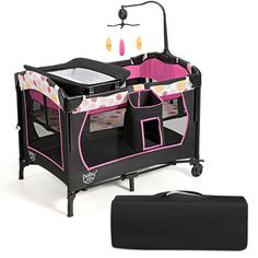 This portable baby playard is a necessity for the new daddy and mother. Serving to provide a comfortable and safe area for baby, the portable baby playard features the diaper table, bassinet bed and activity centre. It serves to accompany the baby's growth with great care. While offering smooth movement, 2 wheels also come with brakes for more stability. On the bottom, a 7-point structure provides strong support, making it a more sturdy playard. Specially designed for baby, 3 cute toys and…