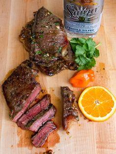 Grilled Tequila Habanero Orange Marinated Steak Recipe Grilled Steak Recipes, Marinated Steak, Grilled Meat, Grilling Recipes, Meat Recipes, Mexican Food Recipes, Cooking Recipes, Chicken Recipes, Panini Recipes