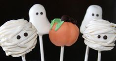 Halloween Cake Pops Shaped as Ghosts, a Pumpkin, and Mummies