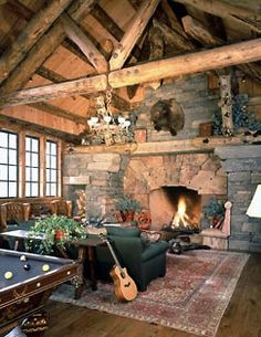 mountain lake campy homes Lovely rustic interior by Ewing Architects, Montana.  The same firm that did the architectural work for Ralph Lauren (RRL) Ranch in Colorado