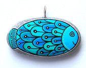 Hand Painted Stone Fish Pendant