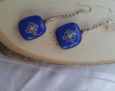 Blue rectangle earrings ,chic earrings, flower design blue earrings ,women gift, handmade Jewelry, gift for her, flower gold on blue glass - Edit Listing - Etsy
