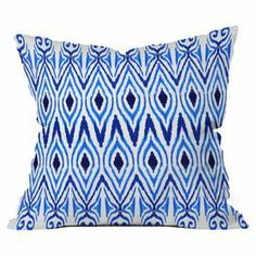 """Add a pop of color to your sofa, arm chair, or window seat with this delightful pillow, showcasing an ikat-inspired motif in blue.    Product: PillowConstruction Material: Woven polyester cover and polyester fillColor: BlueFeatures:  Designed by Amy Sia for DENY DesignsConcealed zipperInsert included Dimensions: 18"""" x 18"""""""