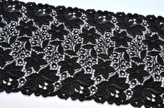 Black Embroidered Trim Venice Lace Double Edged by VintageToLiveBy