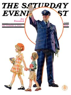 Policeman and school children by J. C. Leyendecker, October 3, 1931, The Saturday Evening Post.