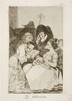 "Francisco de Goya: ""La filiacion"". Serie ""Los caprichos"" [57]. Etching and aquatint on paper, 213 x 151 mm, 1797-99. Museo Nacional del Prado, Madrid, Spain"