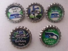 Personalized Birthday Party Decorations, Sports theme party favors, cupcake toppers, pins, candy wrappers, wine charms, solo cup charms and more.