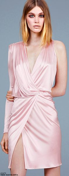 Versace Pre-Fall 2014 pale satin pink cocktail dress