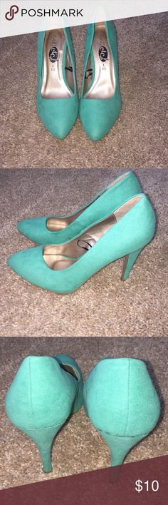 Turquoise suede heels from Rue 21 Cute heels purchased from Rue 21. Other than when I tried them on at the store, I have never worn them. Perfect condition and priced accordingly. Rue 21 Shoes Heels