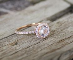 1.02 Cts. White Sapphire Diamond Engagement Ring in 14K Rose Gold Halo Setting. $ 1,450.00 » This is so pretty!