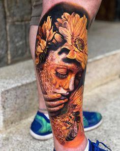 Surrealistic tattoos by Roberto Carlos Sanchez Mesa 42 Tattoo, Forarm Tattoos, Tattoo Life, Leg Tattoos, Body Art Tattoos, Girl Tattoos, Sleeve Tattoos, Portrait Tattoos, Female Tattoo Sleeve