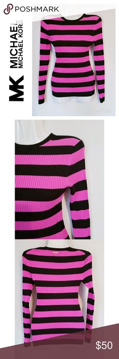 "Michael Kors Striped Ribbed Sweater Michael Kors brand black and pink striped ribbed long sleeve sweater. Super comfortable and stretchy. Excellent pre-owned condition.   Approximate measurements (laying flat): Length - 23"" Michael Kors Sweaters"