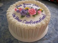 Round Confirmation Cake By tripleE on CakeCentral.com by lorraine