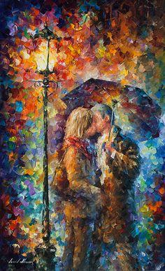 Kissing Through The Rain  ORIGINAL by AfremovArtStudio on Etsy