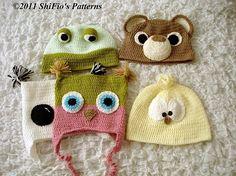 Ladies Crochet Pattern Animal Beanie Hat Owl Bear Chick por shifio