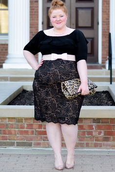 Blogger Liz from WithWonderandWhimsy.com looks amazing pairing our plus size Kelsey Flounce Top and Loren Lace Skirt for a classic look. Browse our entire made in the USA collection and see more style inspiration online at www.kiyonna.com.