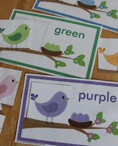 Spring Birds! - color match activity for toddler busy bags, preschool, or pre-k