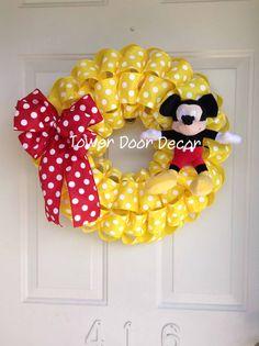 Mickey Mouse Polka Dot Birthday Wreath by TowerDoorDecor on Etsy, $45.00