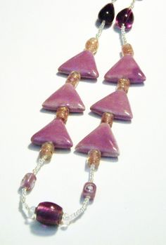 Light Purple Porcelain Triangle Bead Necklace by tzteja on Etsy, $20.00