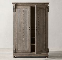 St. James Armoire Entryway Storage Cabinet, Cornice, Mortise And Tenon, Joinery, Armoire, Hand Carved, Hardwood, Carving, Architecture