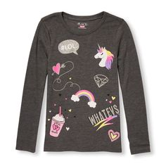 Girls Long Sleeve Glitter Icon Doodles Graphic Tee Gray T-Shirt The Children - Graphic Shirts - Ideas of Graphic Shirts - Girls Long Sleeve Glitter Icon Doodles Graphic Tee Gray T-Shirt The Children's Place Night Suit For Girl, Graphic Shirts, Kids Wear, Kids Shirts, Kids Outfits, School Outfits, Shirt Designs, Kids Fashion, Long Sleeve