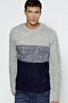 Colour Block Fisherman Knit Jumper at boohoo.com