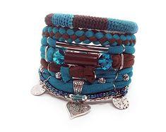 Turquoise and Brown Bohemian Jewelry Boho Bracelet Heart Charm Multistrand Hippie Bracelet Boho Bracelets Stack Boho Jewelry Gypsy Bracelet, Hippie Bracelets, Heart Bracelet, Bracelet Set, Jewelry Bracelets, Boho Hippie, Lino Natural, Natural Linen, Hamsa