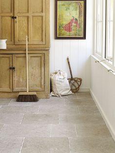 Moleanos Blue Tumbled Limestone. New for 2014. A dense, light yet forgiving Portuguese Limestone. www.mandarinstone.com #grey #utility #limestone: