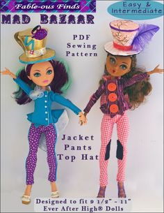 MAD BAZAAR Outfit & Top Hat Sewing Pattern for Ever After High Dolls | Fable-ous Finds